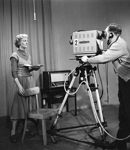 Continuity announcer Gabriela Hellweg at the WDR studios in Cologne (November 1953)