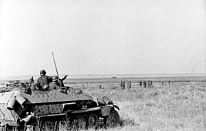 Case Blue - German troops and a Sd.Kfz. 251 armored half-track on the Russian steppe, August 1942
