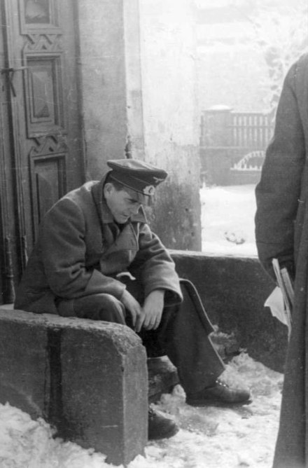 Reichsminister Speer rests on a doorstep - Albert Speer