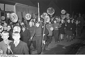 St. Martin's Day - St. Martin's procession with children carrying paper lanterns in West Germany in 1949
