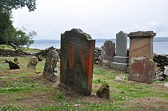 Pirnmill - Ancient burial ground on the coast, just north of Pirnmill. Kintyre is in the background.