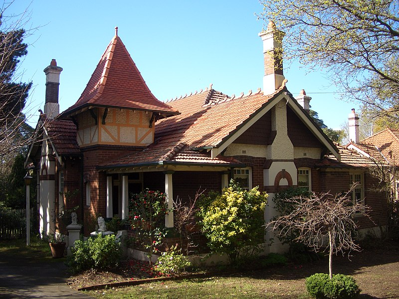 'Vallambrosa' 19 Appian Way - Queen Anne style , with Arts and Crafts features, shingles in gable