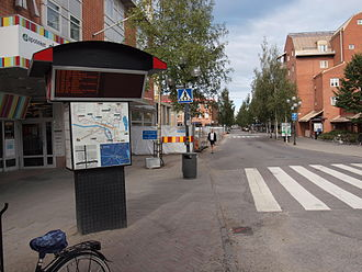 Umeå - A bus stop in central Umeå.