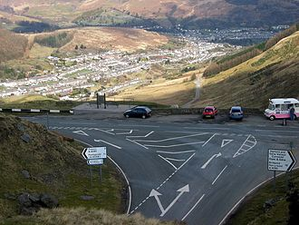 A4061 road - The A4061 at the Bwlch y Clawdd summit, overlooking Cwmparc, Rhondda and an ice cream van