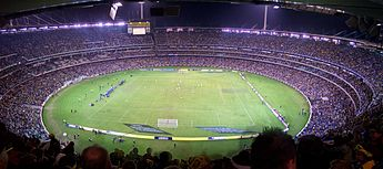 Australia and Greece playing an International Friendly at the MCG on 25 May 2006. CG-MelbCricketGround-Pano.jpg