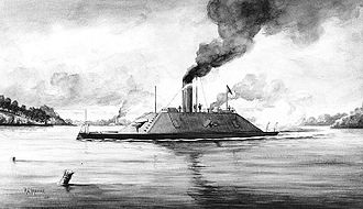 Battle of Trent's Reach - CSS Fredericksburg in the James River.