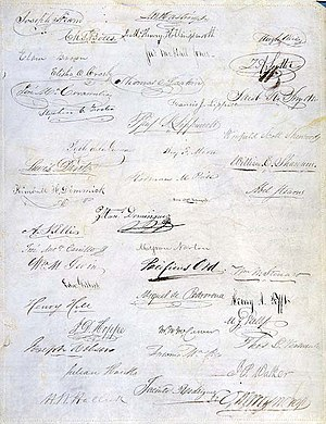Constitution of California - Signature page from the first constitution of the state of California, October 12, 1849