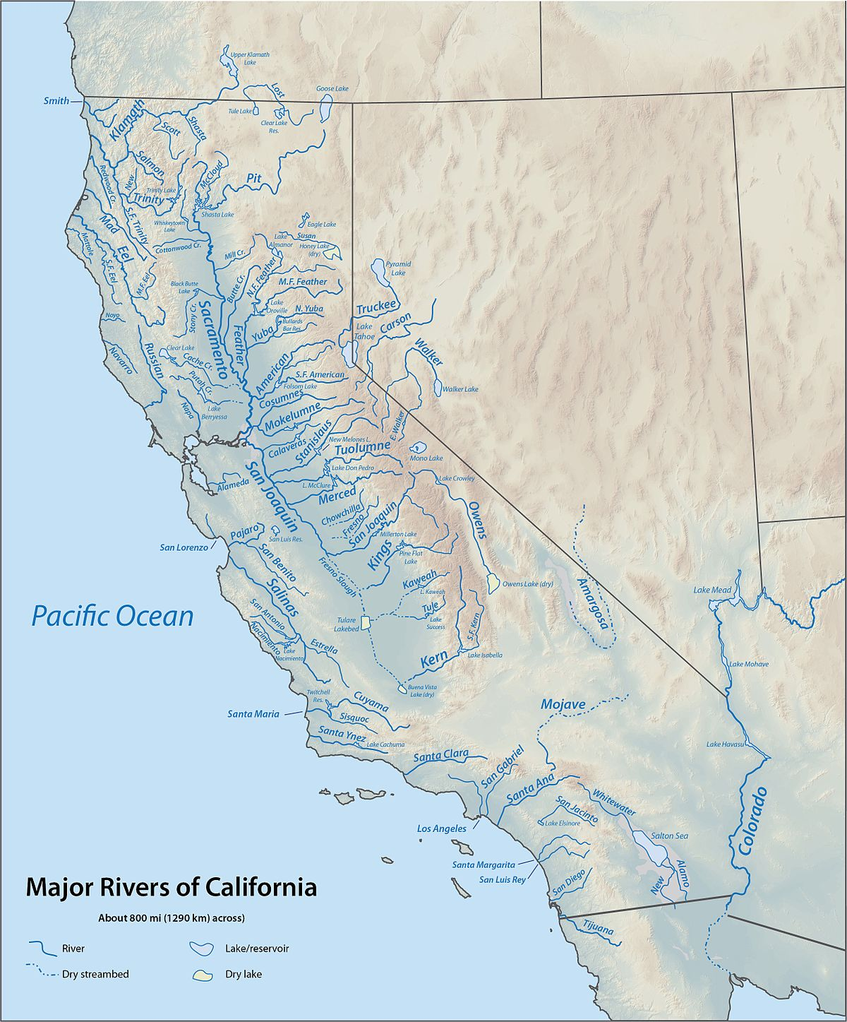 List Of Rivers Of California Wikipedia - Usa map with rivers and lakes