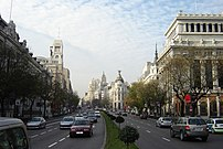 Calle de Alcalá (street) in Madrid (Spain). At...