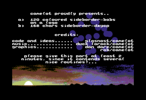 "Commodore 64 demos - Borders - screen shot of the intro to the ""Bobby Border"" part of the ""Camel Park"" demo. Notice the borders in black."
