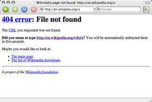 Screen capture of a 404 message error on Wikip...