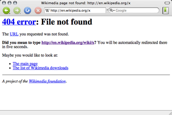 A screenshot of a 404 error in Wikipedia with Camino.