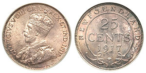 Newfoundland twenty-five cents - George V 25 Cents 1917C