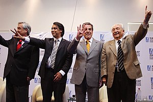 Chilean presidential election, 2009–10 - The four candidates at the ANP debate.