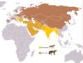 Canis aureus & Canis lupus Range.png