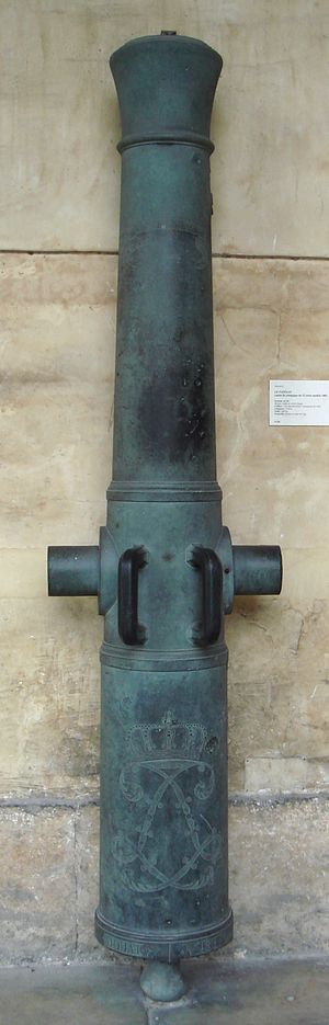 Year XI system - Canon de 12 court, modèle 1803 (short 12pdr cannon, Mk 1803), Le Papegay, Year XI system. Founded in 1824 in Douai. Caliber: 120 mm (rifled in 1858). Length: 210 cm. Weight: 880 kg. Ammunition: 6 kg metal ball.