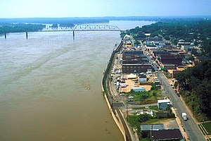 Cape Girardeau, Missouri - Waterfront of Cape Girardeau along the Mississippi River during the Great Flood of 1993.
