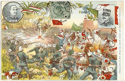 The Ain Zara oasis during the Italo-Turkish War: propaganda postcard made by the Italian Army Cartolina Giovanni Pastorelli.jpg