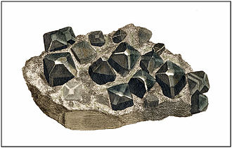 James Sowerby - Cassiterite from Cornwall, from British Mineralogy, 1803
