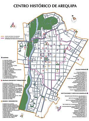 Centro Histórico de la ciudad de Arequipa (mapa)