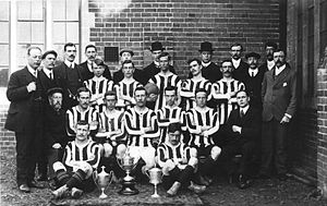 Cheshunt F.C. - The original Cheshunt Football Club posing in 1905 with the trophies won that season.