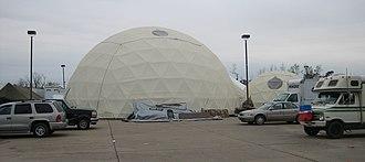 """Emergency Communities - Geodesic domes of the Emergency Communities """"tent city"""" in devastated St. Bernard Parish, Louisiana"""
