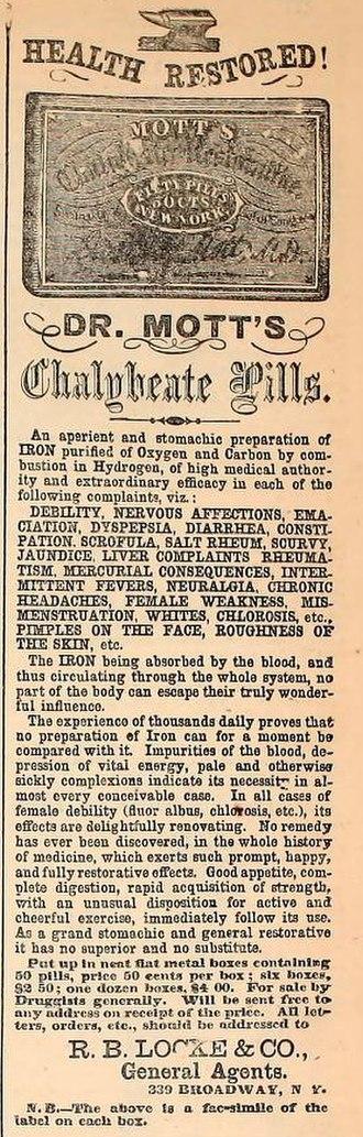 Chalybeate - 1860 advertisement