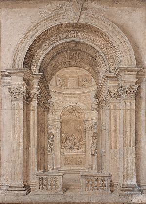 Chigi Chapel - Drawing from the workshop of Gian Lorenzo Bernini, c. 1655