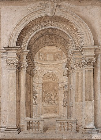 Chigi Chapel - Drawing from the workshop of Gian Lorenzo Bernini, c. 1655