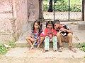 Children in front of Nawab Faizunnesa House at Laksham, Comilla, 19 April 2017 2.jpg