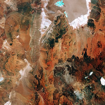 A spaceborne image of the region northwest of Socompa, which is recognizable in the lower right tip Chile's salt flat ESA360999.jpg