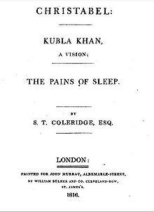 Kubla Khan  Wikipedia Title Page Of Christabel Kubla Khan And The Pains Of Sleep  Thesis Statement For Comparison Essay also Argumentative Essay Examples High School  Write My Lab Report