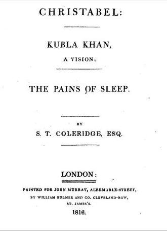 Kubla Khan - Title page of Christabel, Kubla Khan, and the Pains of Sleep (1816)