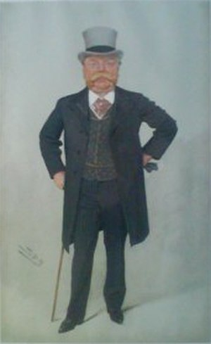"""Christopher Furness, 1st Baron Furness - """"The Furness Line"""" Furness as caricatured by Spy (Leslie Ward) in Vanity Fair, October 1908"""