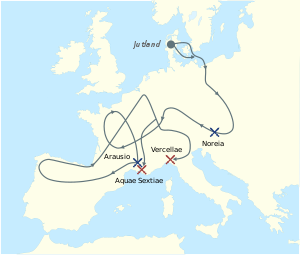 The migrations of the Cimbri and the Teutons. Cimbri and Teutons defeats. Cimbri and Teutons victories.