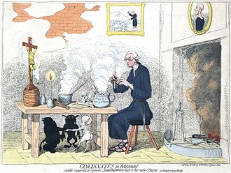 Edmund Burke - In Cincinnatus in Retirement (1782), James Gillray caricatured Burke's support of rights for Catholics.