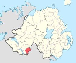 Location of Clankelly, County Fermanagh, Northern Ireland.