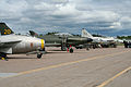 Classic Saab jet flightline at Malmen 2012 (8408654287).jpg