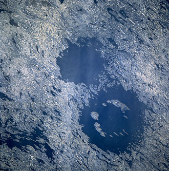 STS-61-A - Clearwater Lakes of Canada (thought to be ancient meteor craters) as seen during the mission