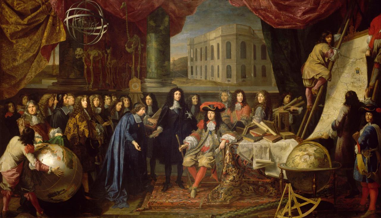 Tableau : Testelin, Colbert présente l'Académie des sciences à Louis XIV (scène fictive)