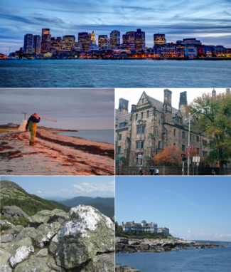 Clockwise from top: skyline of Boston, Massachusetts's financial district at night; a building of Yale University in New Haven, Connecticut; a view from Nubble Light on Cape Neddick, Maine; view from Mount Mansfield, Vermont; and a fisherman on Cape Cod, Massachusetts.