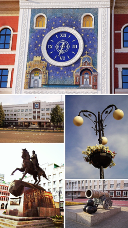 Top: Wall clock display in the Yoshkar-Ola National Art Gallery. Middle left: Yoshkar-Ola City Hall. Middle right: Flower-style lantern in Obolensky-Nogotkov Square. Bottom left: Monument to Obolensky-Nogotkov. Bottom right: Monument to Tsar Cannon in the National Art Gallery.