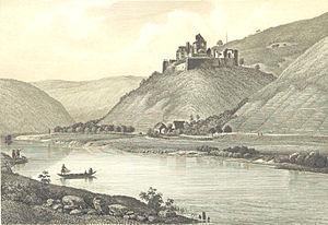 Dorfprozelten - Steel engraving of Collenburg, 1847
