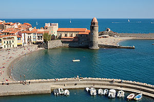 Collioure - The Church of Our Lady of the Angels across the bay, in Collioure