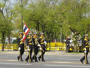 Royal Thai Navy - Navy Cadet Regiment, King's Guards of Royal Thai Navy in the royal funeral procession of Princess Bejaratana Rajasuda