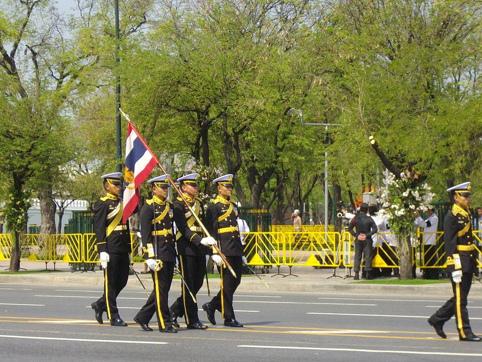 Colours guards of RTNA in the royal funeral procession of Princess Bejaratana Rajasuda