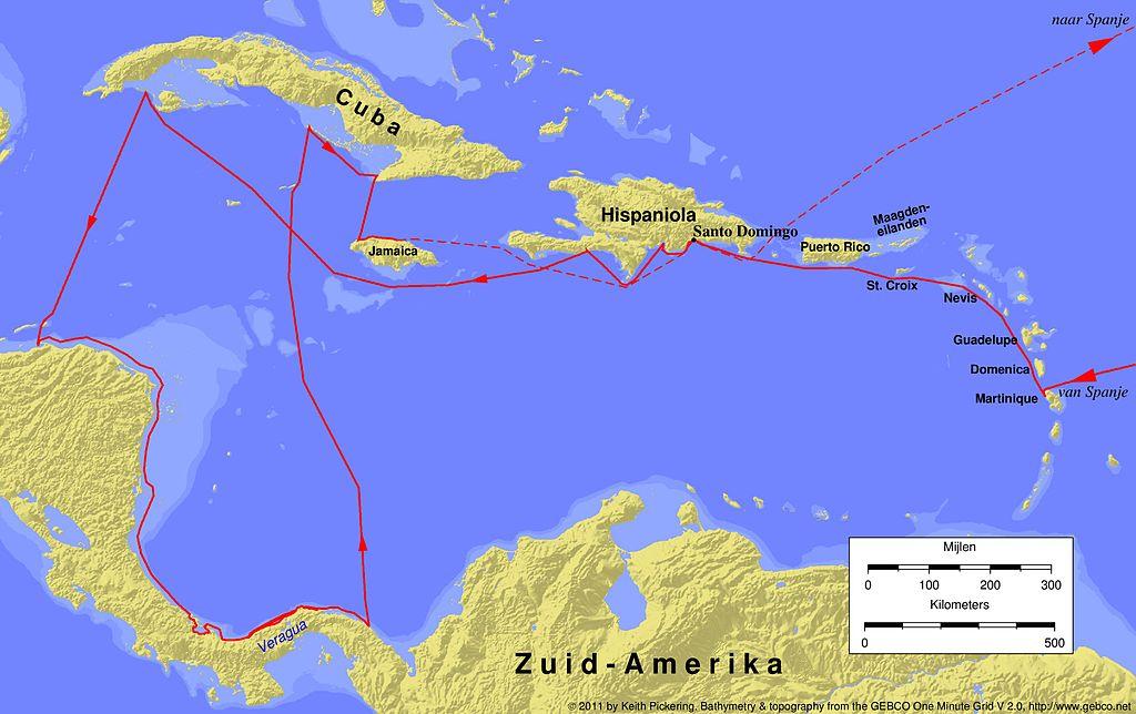 File columbus fourth voyage wikimedia commons for Cuarto viaje de cristobal colon