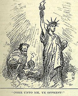 "Early 20th-century depiction of a ""European Anarchist"" attempting to destroy the Statue of Liberty Come unto me, ye opprest.jpg"