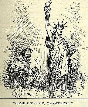 Red Scare: dessin de presse paru le 5 juillet montrant un anarchiste européen tentant un attentat sur la statue de la Liberté