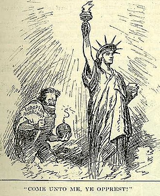 "Anarchism and violence - An American political cartoon, published in 1919, depicting a ""European anarchist"" preparing to destroy the Statue of Liberty."